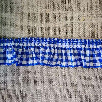 Rüschenband royalblau-weiß kariert elastisch 19 mm breit