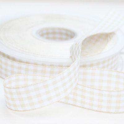 Karo-Band Vichy beige/weißkariert 15 mm breit
