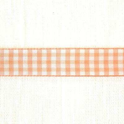 Karo-Band Vichy hellorange/weiß kariert 15 mm breit