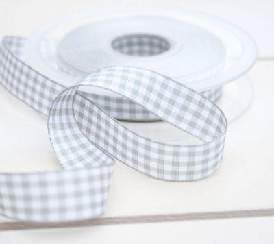 Karo-Band Vichy grau-weiß 15mm