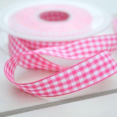 Karo-Band Vichy pink-weiß/kariert 15 mm breit