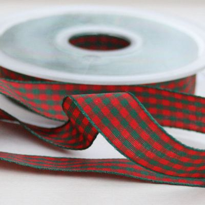 Karo-Band Vichy rot/grün kariert 15 mm breit