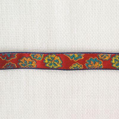 Webband Marco Polo Blumen rot 9 mm