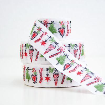 Webband Weihnachtsgirlande 3 cm breit
