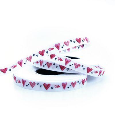 Webband Herzchen weiß-rot  1 cm breit