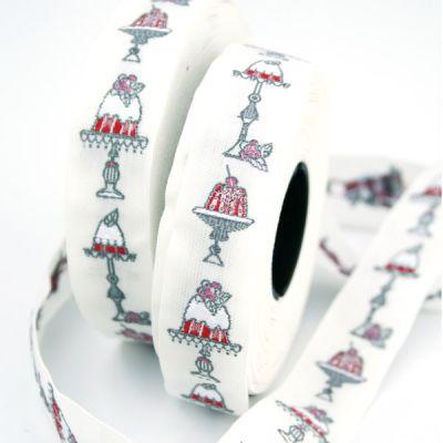 Webband Törtchen weiß-rot 2 cm breit