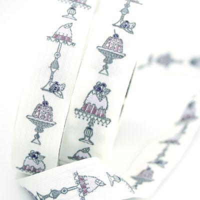 Webband Törtchen weiß-violett 2 cm breit