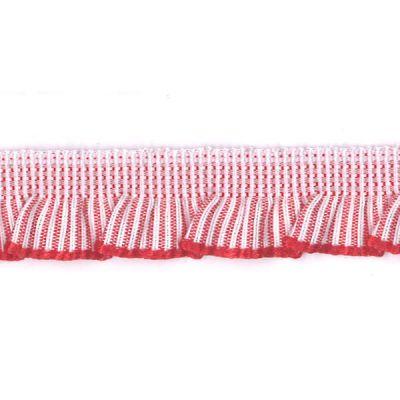 Rüschenband weiß-rot gestreift elastisch 13 mm breit