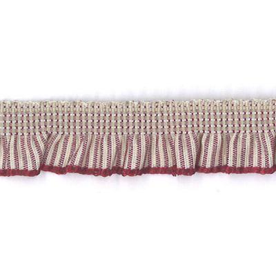 Rüschenband natur-rot gestreift elastisch 13 mm
