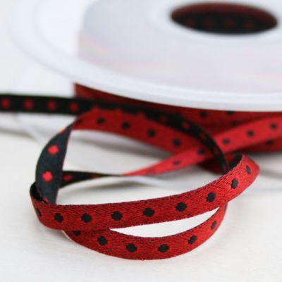 Satinband Pünktch. Debora rot-schwarz 5 mm breit