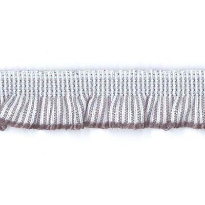 Rüschenband weiß-grau gestreift elastisch 13 mm
