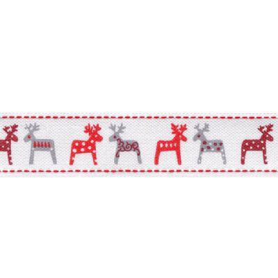 Bedrucktes Band Rentier weiß-grau-rot 2,5 cm breit