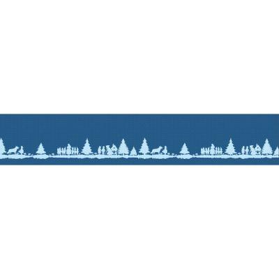 Baumwolljacquard Märchenwald blau Bordüre 25 cm