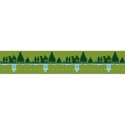 Baumwolljacquard Hänsel & Gretel grün Bordüre 25 cm