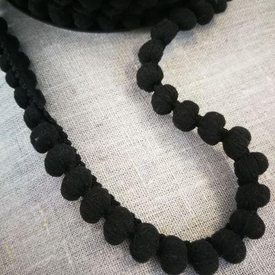Pomponborte schwarz 15mm