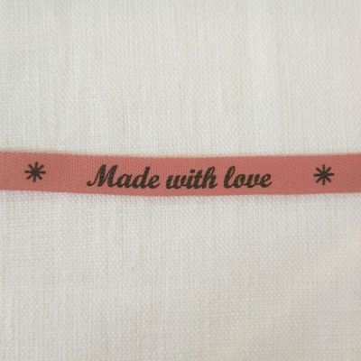 Motivband Made with love - rosa-grau