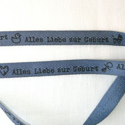 Motivband Alles Liebe zur Geburt, 1cm, blau-grau