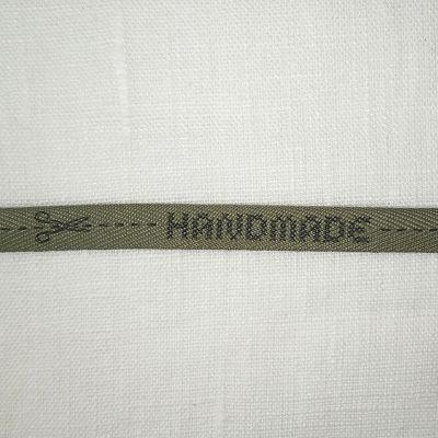 Motivband Handmade 1 cm, oliv-grau