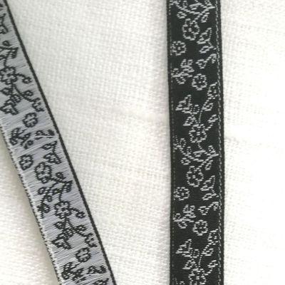Webband Juliette Blumen schwarz weiß 10mm