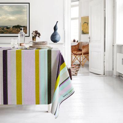 Stoff beschichtet, 135 cm breit, Streifen 4, violett-ocker