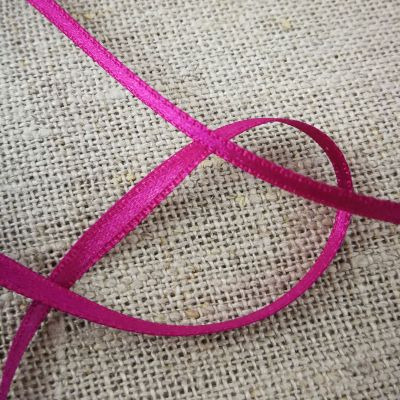 Satin double face 3mm dunkelpink 100% Polyester
