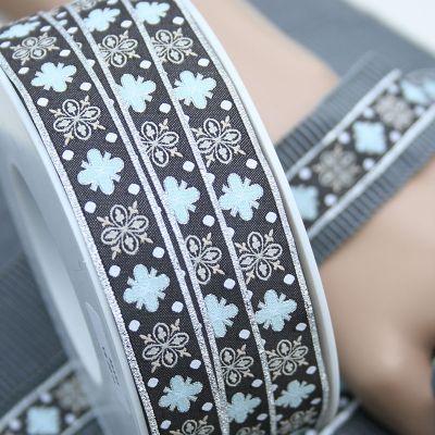 Webband Ornamente silber 16mm