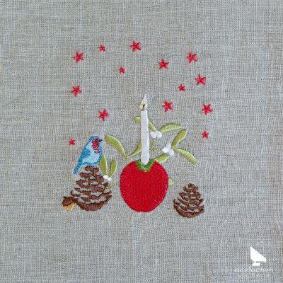 Stickdatei Apfellicht mit Vogel