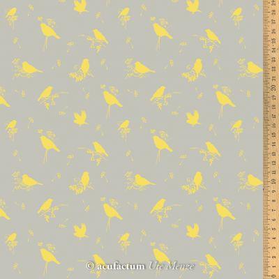 Baumwollstoff Volgelzeit gelb 155 cm breit