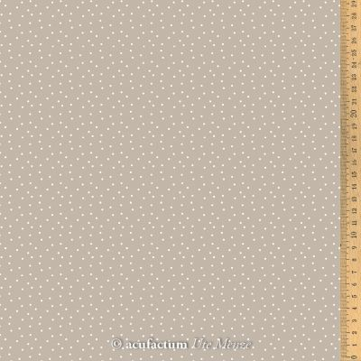 Baumwollstoff Tupfen taupe-weiß  150 cm breit