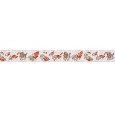 Webband Rotkehlchen mit Federn 16mm breit