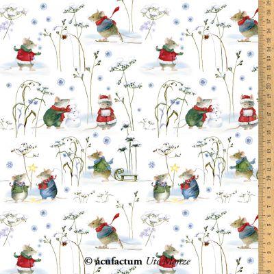 Baumwollstoff Wintermäuse 145 cm breit