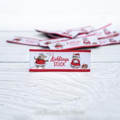 Webetikett Mäuse Lieblingsstück rot ( 10 Stück )