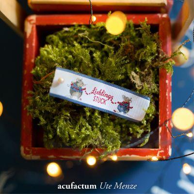 Webetikett Mäuse Lieblingsstück blau ( 10 Stück ) ca. 20 x 57 mm