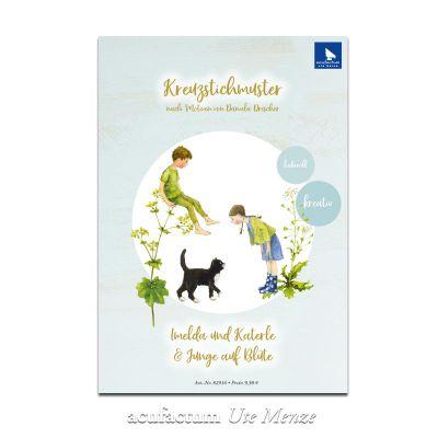 Kreuzstichmuster Imelda und Katerle / Junge auf Blüte