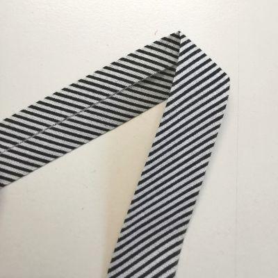 Schrägband Streifen weiß-schwarz 18 mm breit
