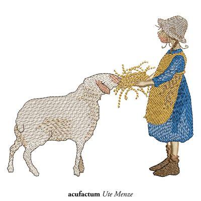 Stickdatei Hirtenmädchen mit Schaf