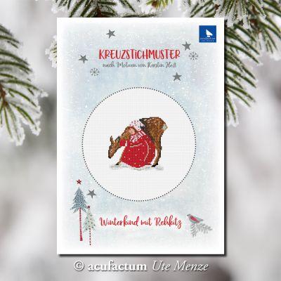 Einzelmuster Winterkind mit Rehkitz