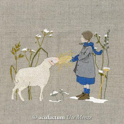 Stickdatei Mädchen füttert Schaf