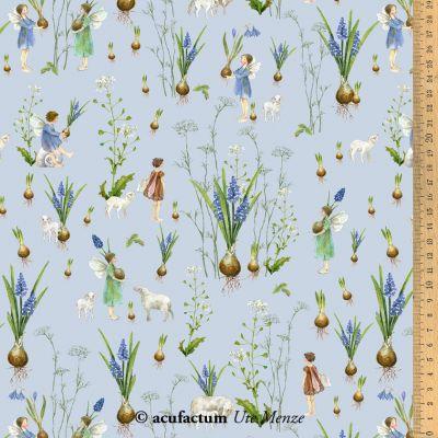 Baumwollstoff Frühlingselfen blau  145 cm breit