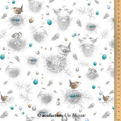 Baumwollstoff Vogelnester