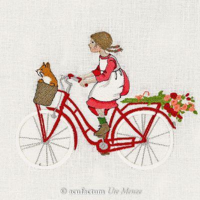 Stickdatei Mädchen auf dem Fahrrad - 2-4035-128