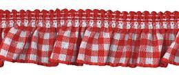 Rüschenband rot-weiß kariert 19 mm breit