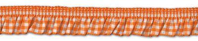 Rüschenband orange-weiß kariert elastisch 19 mm breit
