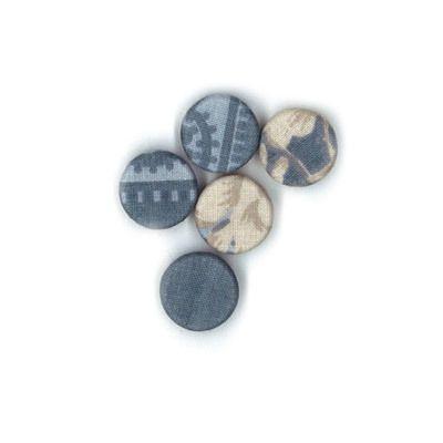 Durchstechknopf Ornament blau 12 mm
