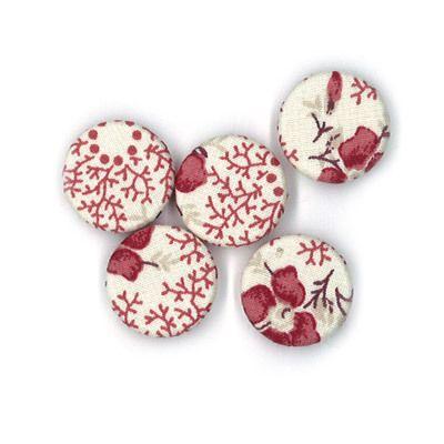 Durchstechknopf Blumenkaro rot 18 mm