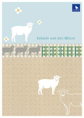 Stickvorlage Schafe auf der Wiese